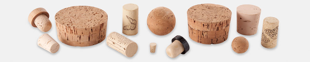 Corks including cork stoppers, wine corks, T-corks and more.
